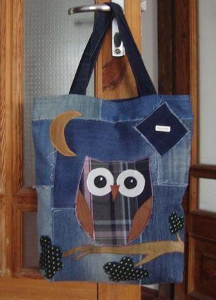 Джинсовая сумка сова ручная работа1