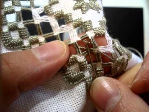 Hardanger Embroidery, Lesson 10 cont'd, One more Dove's Eye - YouTube