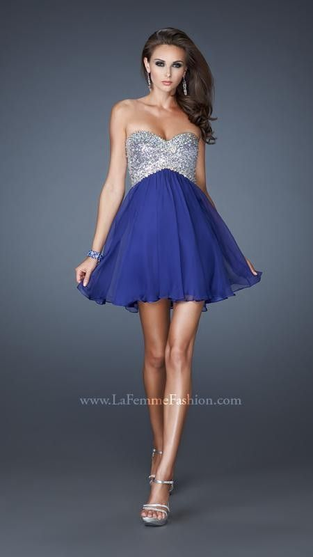 Strapless Mini Dress with Gossamer Gathered Skirt by La Femme 17902 IndigoOutlet