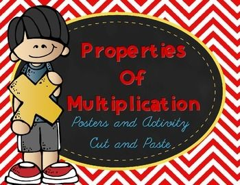 Interactive posters for teaching or reviewing the properties of multiplication with colorful chevron borders and Melonheadz clipart. Posters include: Identity Property, Zero Property, Commutative Property, Associative Property, and Distributive property.  16-Interactive cards for a matching activity included with multiple examples of each property.