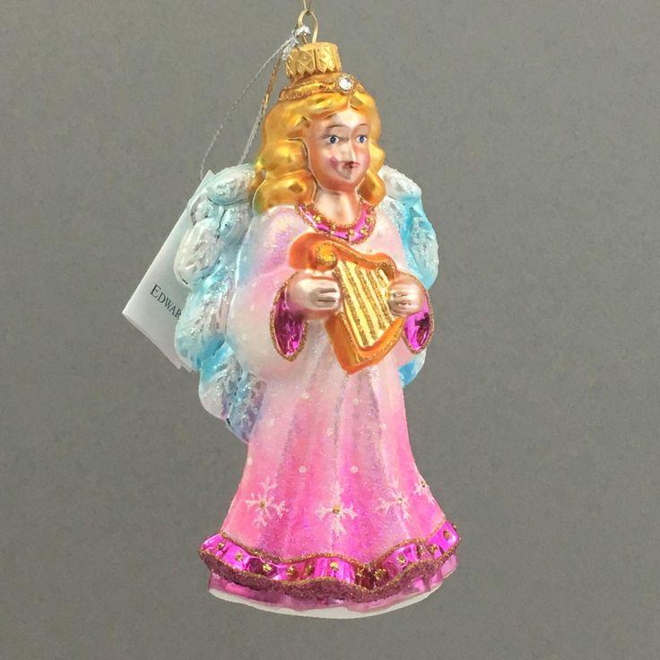 Glass Christmas ornament-ANGEL WITH A HARP-handmade in Art Studio-Edward Bar