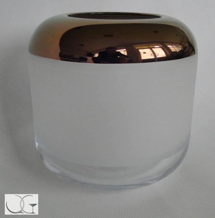 Wazon świecznik szklany szlifowany z miedzianym paskiem h-15