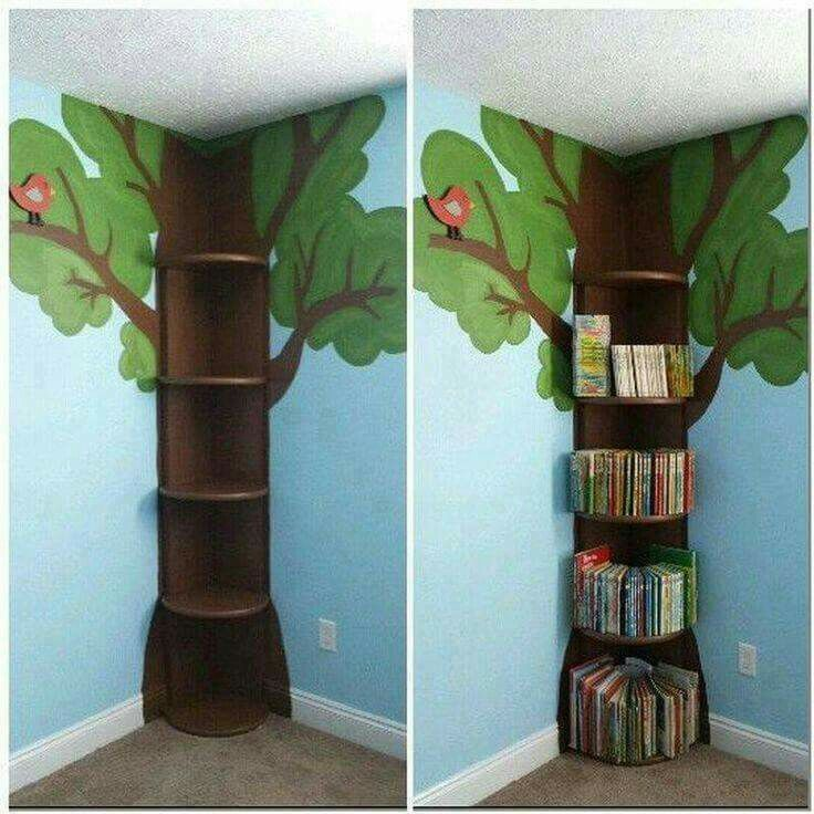 Good idea. I could get a square corner shelf and paint a minecraft tree to go with his gaming theme!