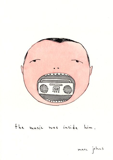 Ink and watercolour on paper, 5x7 inches, Marc Johns * Source : marcjohns.com
