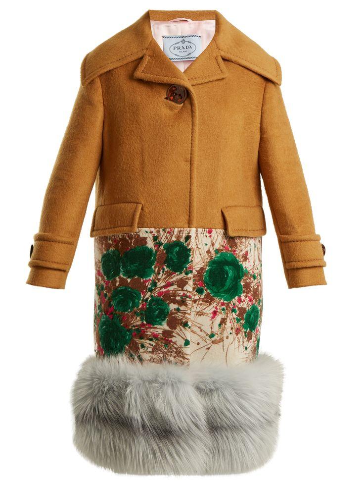 PRADA  Fur-hem contrast-panel cashmere coat