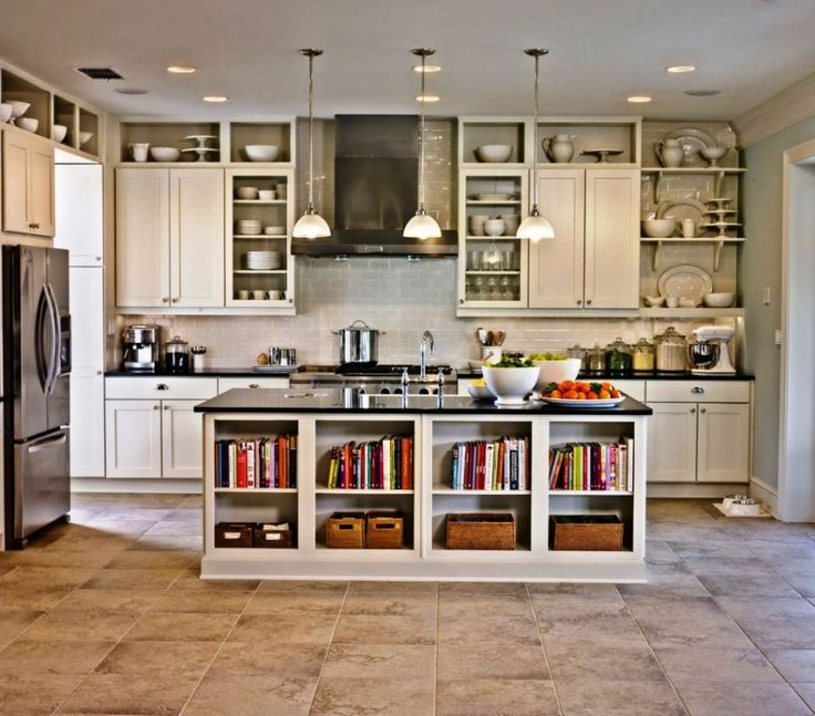 Kitchen:White Kitchen Remodeling Decor With White Wooden Kitchen Cabinets Also Wooden Open Shelves Plus Kitchen Islands With Storage Also Pedant Lamps And Ceramic Kitchen Remodeling Flooring Ideas Minimalist Kitchen Remodeling Ideas with Big Brown Wooden Cabinets and Shelves