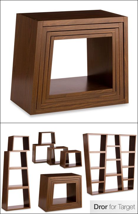 Stackable, nesting bookcases.  Makes for an easy move down stairs.