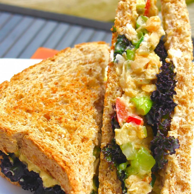 These are a staple at lunchtime at my house! Chickpea Salad Sandwiches!