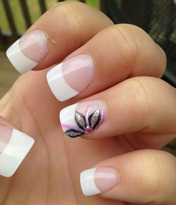 30 Pretty Flower Nail Designs. French Tip ... - Best 10+ French Tip Nails Ideas On Pinterest French Nails
