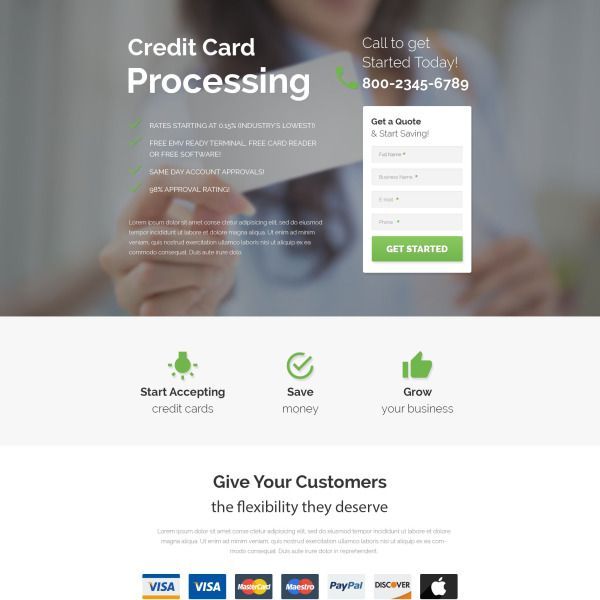 Credit Card Processing Html Template Credit Card Processing Landing Page Page Template