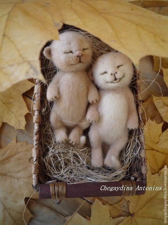 Купить Котята валяные Пилюльки счастья)) - бежевый, котенок, котята, котята из шерсти, котята валяные