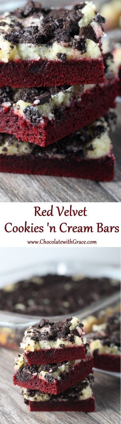 Only 6 ingredients! Gooey Red Velvet Cookies and Cream Bars. made with a cake mix.