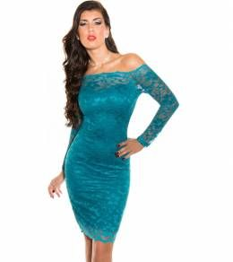Δαντελένιο μίντι φόρεμα με ανοιχτούς ώμους