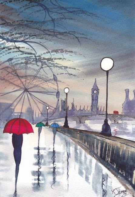 Art: Rainy Day London~Evening Stroll by Artist KJ Carr