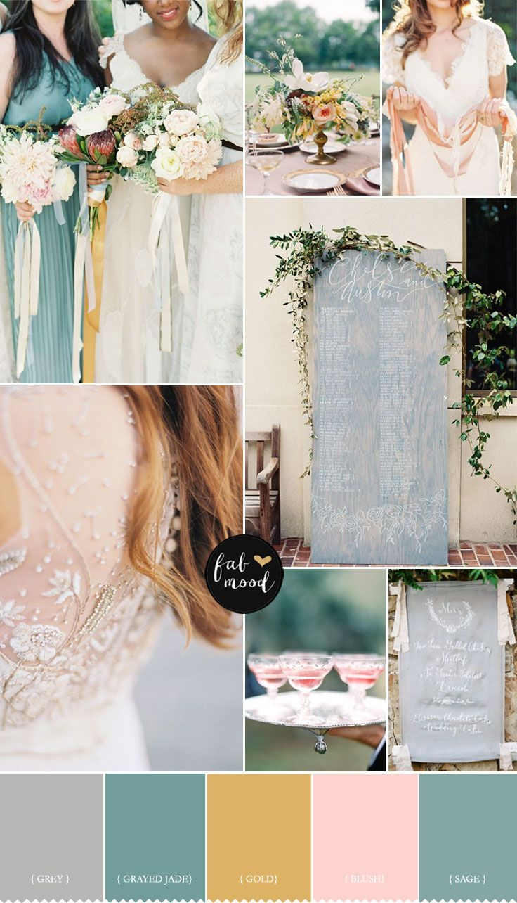 grey, peach, jade ,gold and sage wedding palette | like the colors and the ribbons