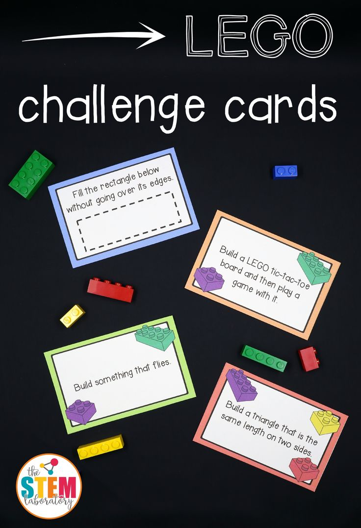 Share on Pinterest Share Share on Facebook Share Send email Mail This giant collection of LEGO challenge cards is a simple prep, fun way to sneak some STEM learning into the day. With cards that range from easy to difficult, little engineers will love tackling the designs. Grab your set below and add them to a classroom center, engineering activity, homeschool lesson, or free play. There are so many