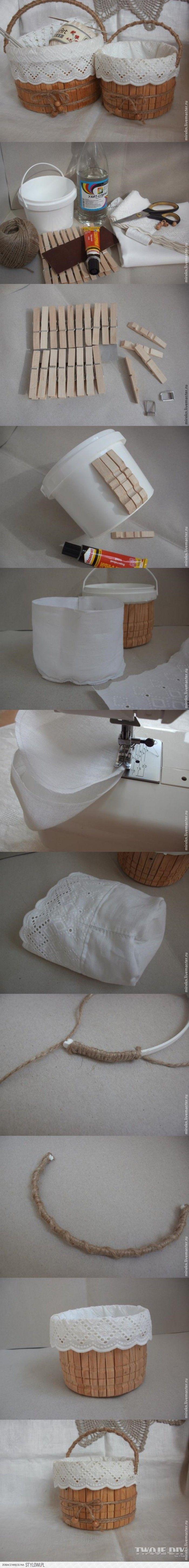Zo maak je van een plastic emmer een mooie brocante mand voor allerlei spulletjes.