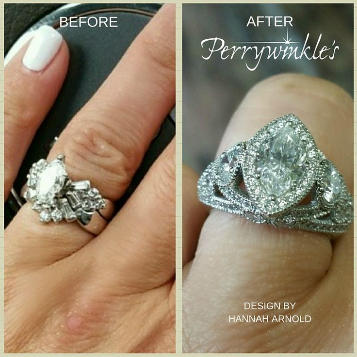 """Beautiful """"before"""" - AMAZING """"after"""".    """"It all started with redesigning her wedding set for her 10 year anniversary. Between myself, Pam and Casey we went back and forth on different design ideas with one staple in mind-- Bling and Sparkle! Casey has been a customer with us for many years and is an amazing person to be able to work with.""""   Hannah Arnold, Perrywinkle's Jewelry Designer  Plattsburgh, New York"""