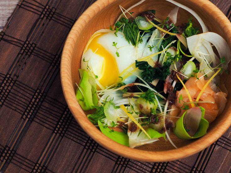 Salát se sous vide vejcem, olivový vinaigrette | Oh My Chef