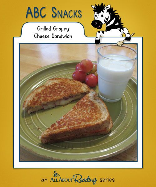 G is for Grilled Grapey Cheese Sandwiches: This recipe lets your little one combine two kid favorites—grilled cheese and grapes—into one delicious sandwich. Find all our snacks at abc-snacks.com.