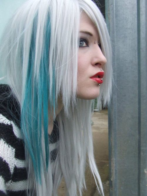 Blue Streak In Platinum White Hair