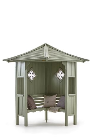This would be perfect for storing my cushions etc., in the garden, as well as being beautiful to sit in -  Haven Corner Arbour