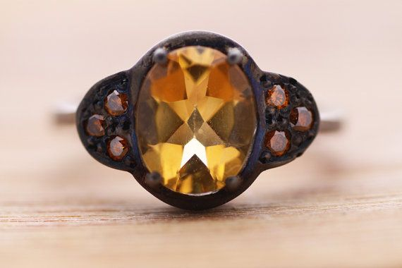 Citrine ring / Sterling Silver ring ruthenium by PetrosJewels