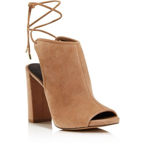 Kenneth Cole Darla Open Toe Block Heel Sandals ($180) ❤ liked on Polyvore featuring shoes, sandals, cafe, laced shoes, mule shoes, laced sandals, lace up shoes and open toe mules