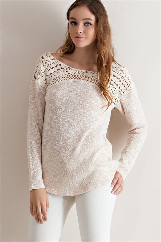 Crochet Lace Yoke Sweater - Natural - Knitted Belle Boutique  - 2