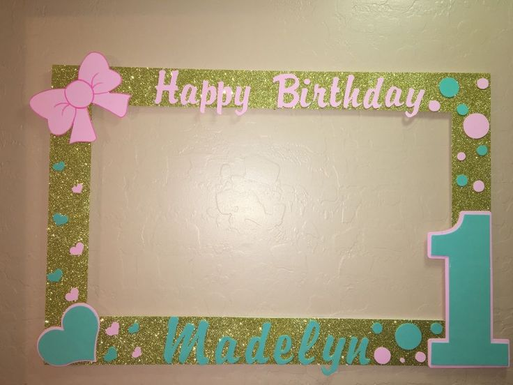 Photo Booth Frame to Take Pictures Pink Gold Mint First Birthday | eBay