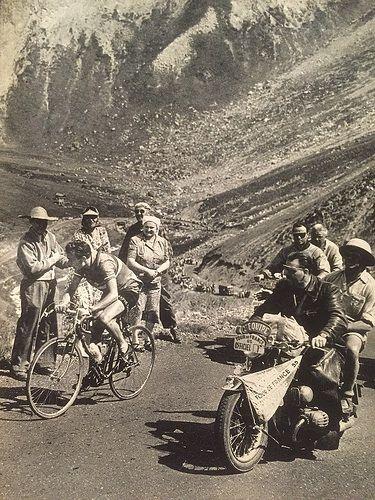 """Charly Gaul Galibier 1955 Tour de France Detail of photo from the 1955 """"Le Miroir des Sports"""" Revivre: Le Tour"""