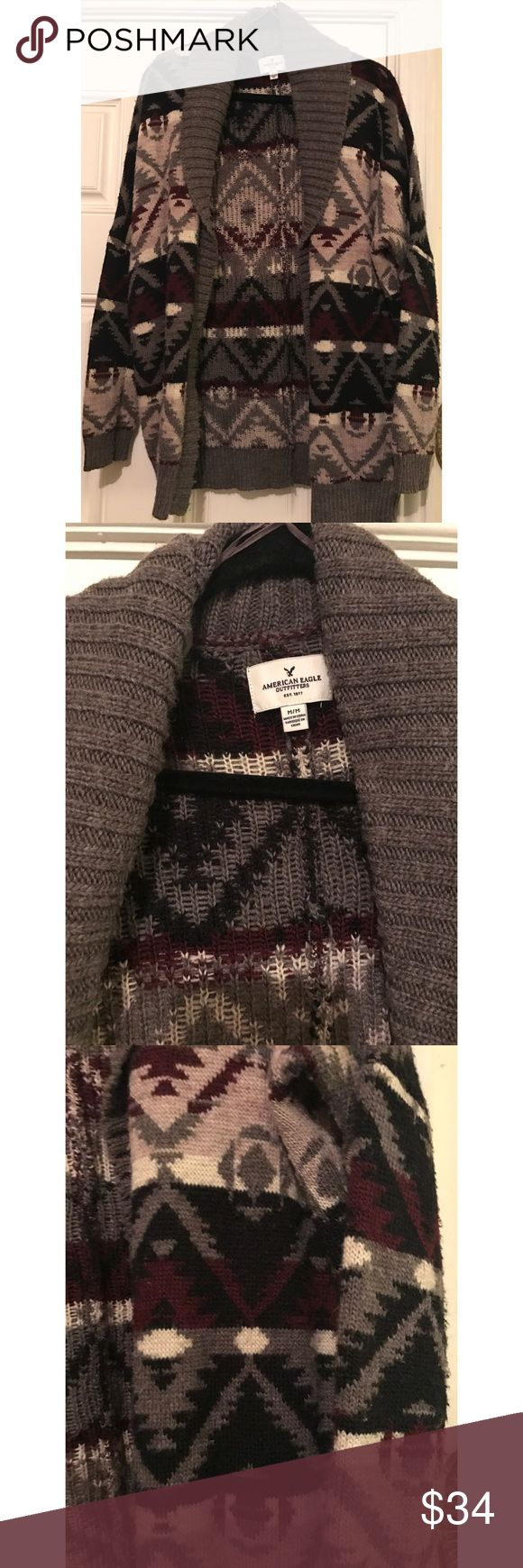 American Eagle 🦅 Aztec Print Cardigan Size M American Eagle 🦅 Aztec Print Cardigan Size M Gray& Burgundy Color. Great for the transition to Spring! American Eagle Outfitters Sweaters Cardigans