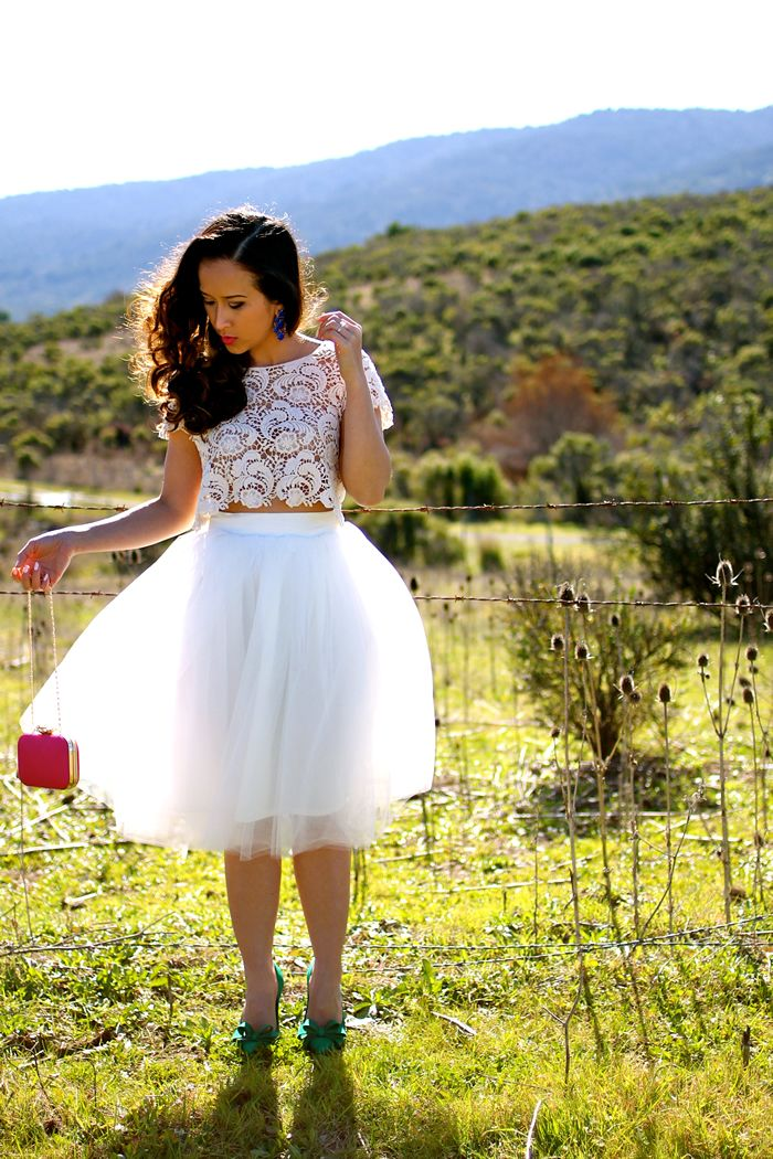 KTRcollection tulle skirt in ivory and