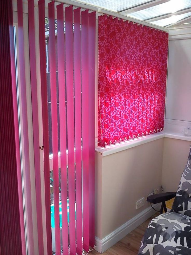 red & pink vertical blinds in abu dhabi & dubai for office window