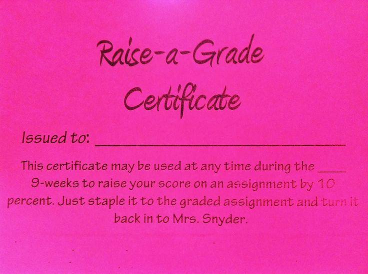 Beyond the Goggles: Raise-a-Grade Certificates = Easy, FREE Classroom Reward