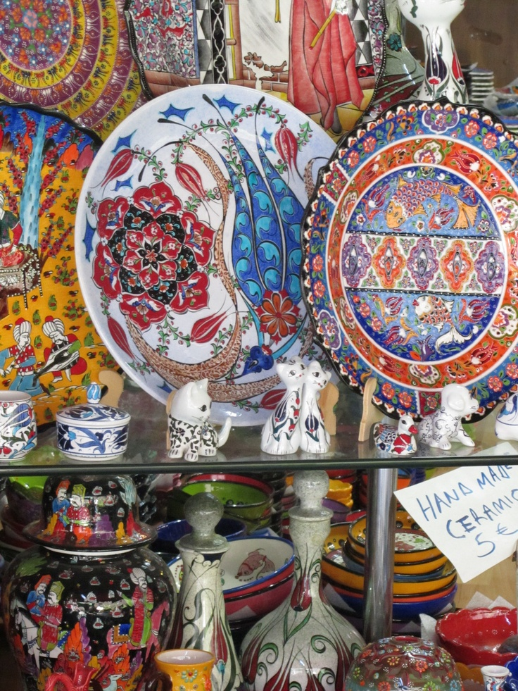 Kusadasi, Turquia,   Market   ... the pottery was amazing.  I also got an inlaid wooden chess board and we ran from store to store comparing fish dishware that my son wanted to buy