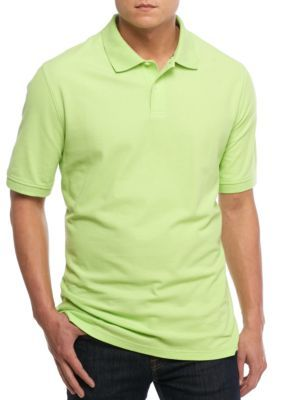 Saddlebred Green Big  Tall Short Sleeve Solid Pique Polo Shirt