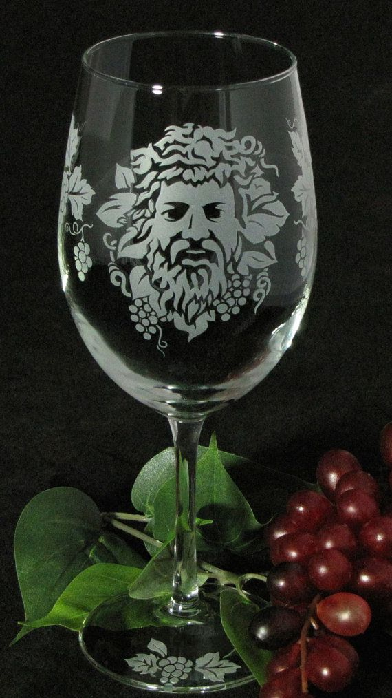 NEW  2 Bacchus Wine Glasses Etched Glass Roman God by bradgoodell