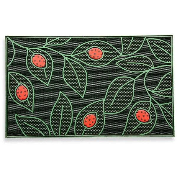 Ladybug Door Mat featuring polyvore home outdoors outdoor decor ladybug garden decor green door mat rubber door mat rubber welcome mat rubber doormat