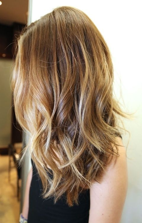 Medium hair length with long layers. Beautiful light brown and blonde hair