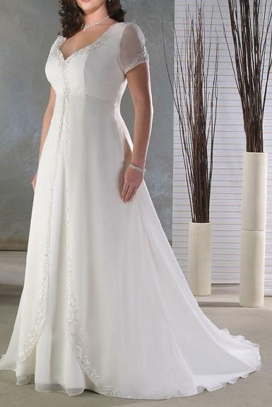 Short sleeves, high waist, simple  http://www.jormabridal.com/real/unforgettable/plus013.jpg
