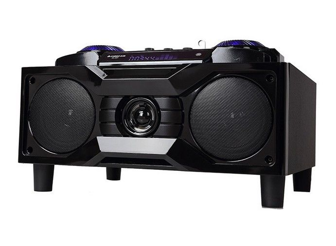 """2.0 ch 40W multimedia pc speaker 6.5"""" subwofer fm usb play karaoke player machine  system with songs aux in portable"""