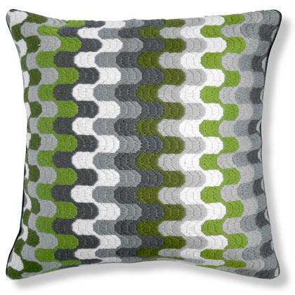 Jonathan Adler Green Bargello Puzzle Pillow in Bargello Pillows