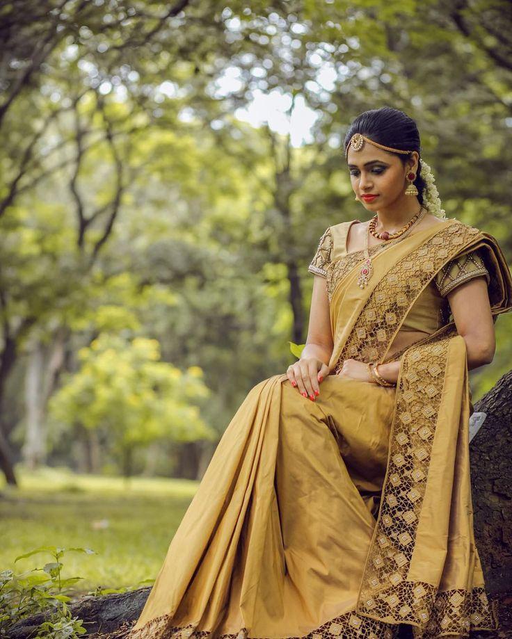 South Indian bride. Gold Indian bridal jewelry.Temple jewelry. Jhumkis. Gold silk kanchipuram sari.Braid with fresh jasmine flowers. Tamil bride. Telugu bride. Kannada bride. Hindu bride. Malayalee bride.Kerala bride.South Indian wedding.