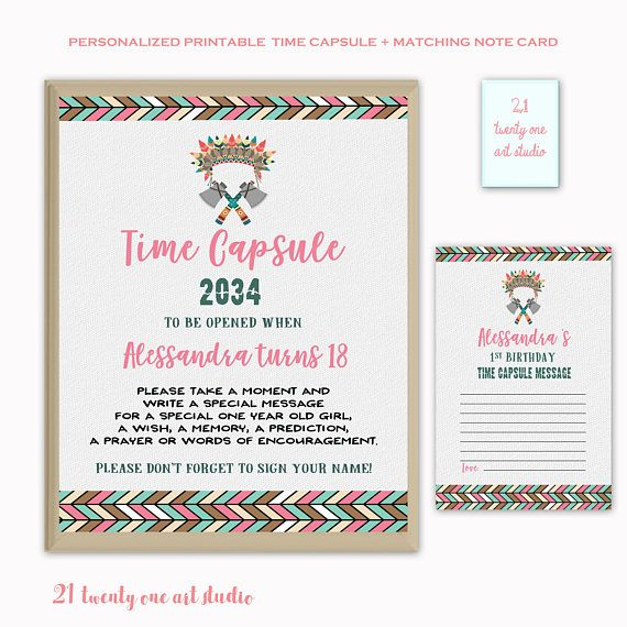 Tribal Time Capsule Sign Time Capsule Sign First Birthday