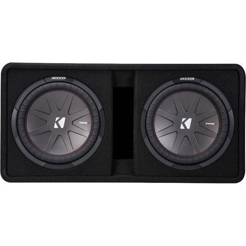 """Kicker - CompR Dual 12"""" Dual-Voice-Coil 2-Ohm Subwoofers with Enclosure - Black. Key Specs Woofer Size 12 inches Impedance 2 ohms Dual Voice Coils Yes Warranty Parts 1 Year Labor 1 Year Material Woofer Composition Injection-molded polypropylene Woofer Surround Material Santoprene Box Material Wood Box Covering Material Carpet Dimension Flush Mount No Height 16 inches Width 32.325 inches Depth 17.25 inches Weight 1 pounds Audio RMS Power 1000 watts Peak Power Handling 2000 watts Enclosed Yes…"""