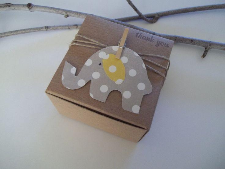 baby showers elephant | 40 Baby Shower gray elephant polka dot favor box size 3x3x2 inch ...