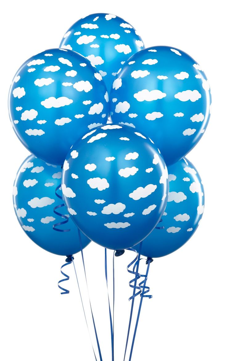 """Mid Blue with Clouds 11"""" Matte Balloons (6 count)"""