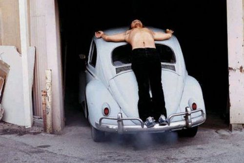 Chris Burden, Trans-Fixed, took place April 23, 1974 at Speedway Avenue in Venice, California