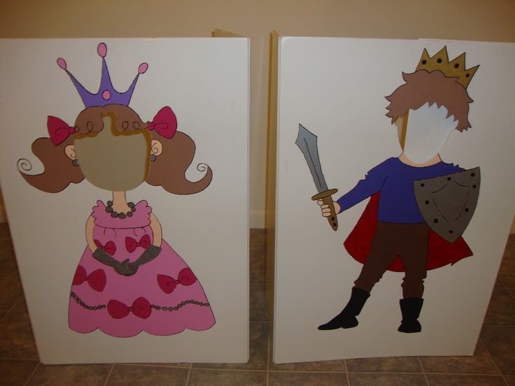 Prince & Princess cut out boards. Cute for taking pictures with the kiddos! Princess party.